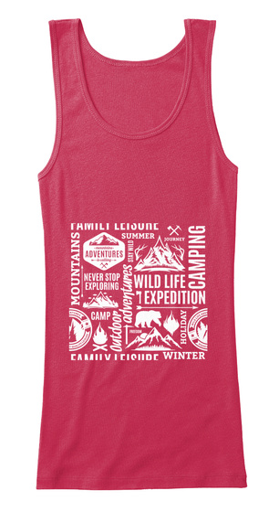 Family Leisure Summer Journey  Mountains Adventures Never Stop Exploring Wild Life Expedition Camping Camp Adventures... Cherry Red Tank Top Front