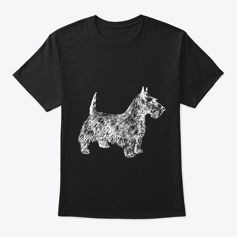 Scottie Dog Lover Line Art Illustration Black T-Shirt Front