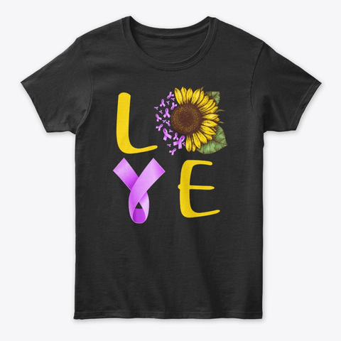 Love Hodgkin's Lymphoma Ribbon Sunflower Black T-Shirt Front