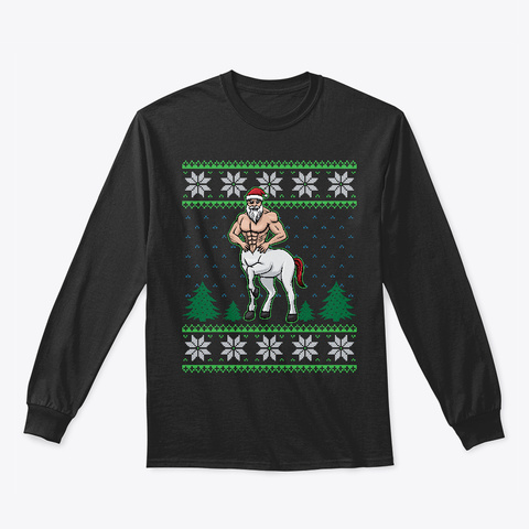 Santa Centaur Ugly Christmas Sweater Black T-Shirt Front