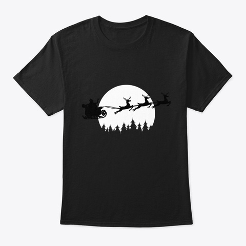 Womens Funny Sleigh Christmas Santa Black T-Shirt Front