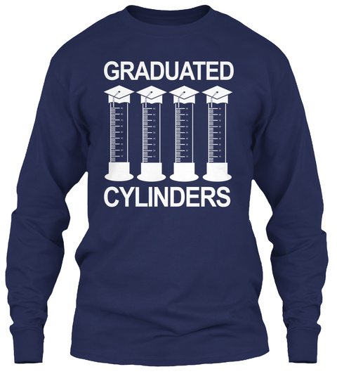 Graduated Cylinders  Navy Long Sleeve T-Shirt Front
