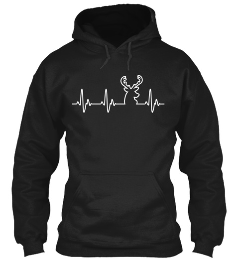Deer Heartbeat — Hoodies And Tees Black T-Shirt Front