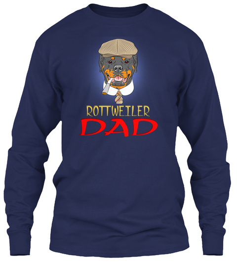 Hipster Dog Rottweiler Dad Breed In A Br Navy T-Shirt Front