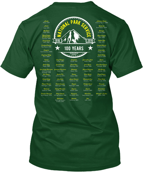 National Park Service 1916 2016 100 Years Deep Forest T-Shirt Back