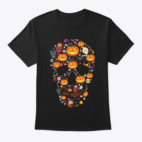 Skull Halloween Pumpkin Skeleton Death Black T-Shirt Front