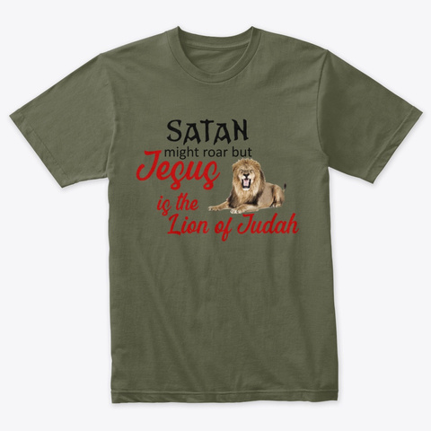 Lion Of Judah Military Green T-Shirt Front