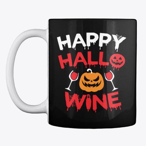 Wine Hallowine Halloween Mug Gift Black Mug Front