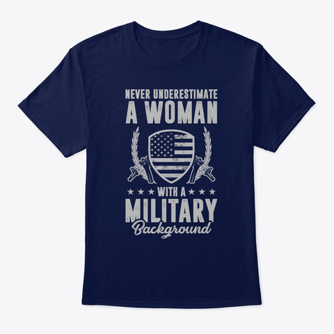 Veteran Woman Never Underestimate A Woma Navy T-Shirt Front