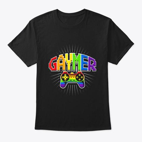 Gaymer Pride Lgbt T Shirt Rainbow Flag Black T-Shirt Front