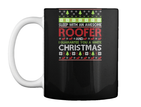 Sleep With An Awesome Roofer Guarantee Black T-Shirt Front