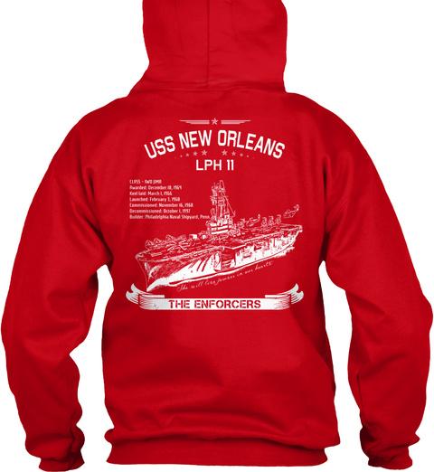 Usa New Orleans Lph 11 The Enforcers Red Sweatshirt Back