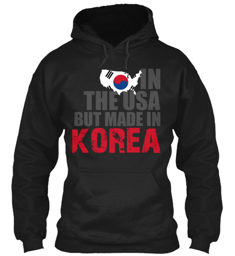 In The Usa But Made In Korea Black T-Shirt Front