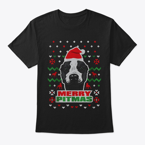 Merry Pitmas Black T-Shirt Front