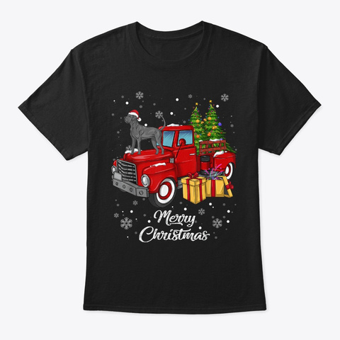 Great Dane Rides Red Truck Christmas Paj Black T-Shirt Front