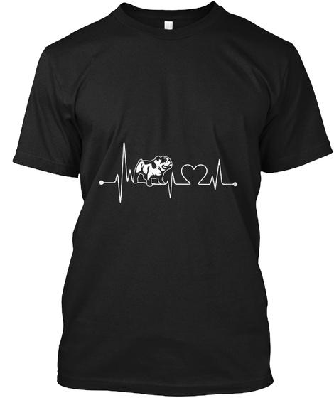 Old English Bulldog Heartbeat Black T-Shirt Front