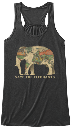 Save The Elephants Dark Grey Heather T-Shirt Front