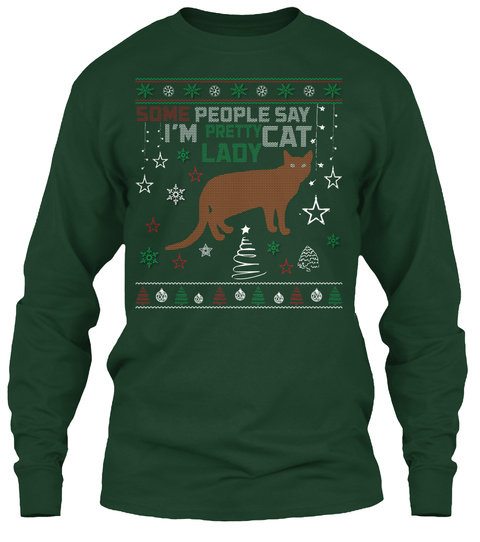 pretty cat ugly christmas sweaters forest green long sleeve t shirt front
