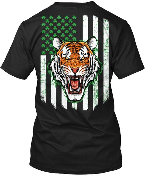 Irish Shamrock Flag Roaring Tiger Tshirt Black T-Shirt Back