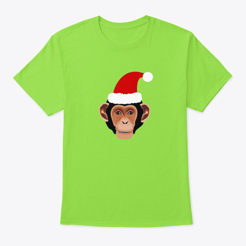 Christmas Funny Monkey Cap Merry Christ Lime T-Shirt Front