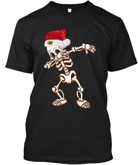 Dabbing Skeleton Santa Dab Christmas Tee Black T-Shirt Front