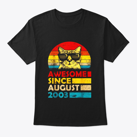 Awesome Since August 2003 16th Birthday Black T-Shirt Front