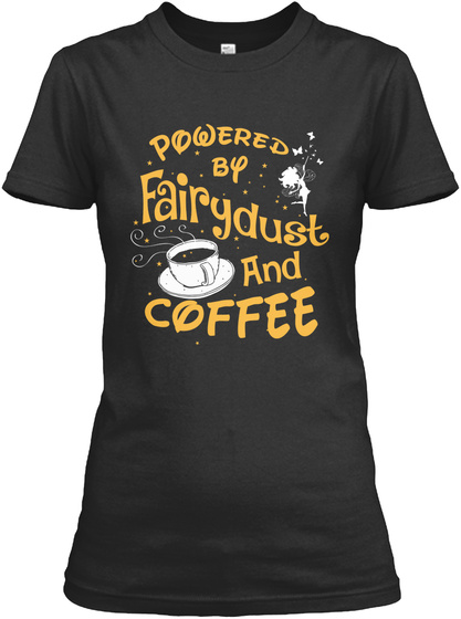 Powered By Coffee Black T-Shirt Front