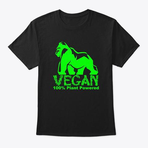 Vegan 100% Plant Powered Gorilla Black T-Shirt Front