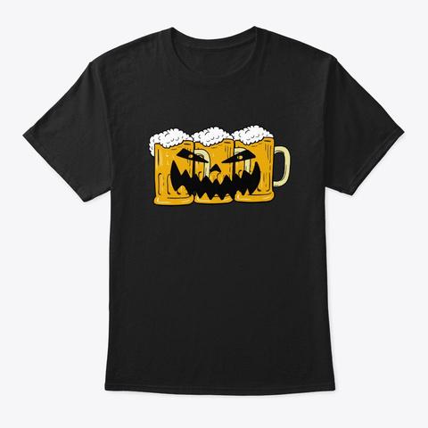 Halloween Jack O Lantern Beer Mugs Drink Black T-Shirt Front