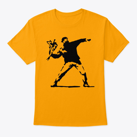 Banksy Flower Thrower Gold T-Shirt Front
