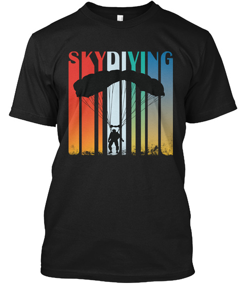 Awesome Skydiving Shirt Black T-Shirt Front