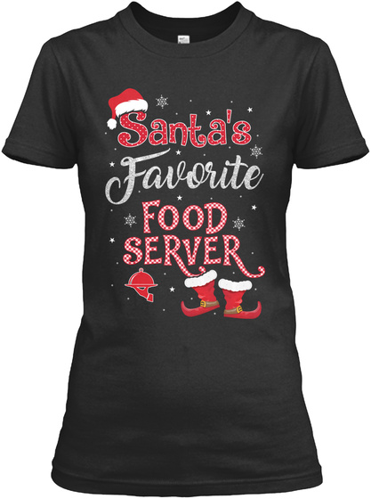Santa's Favorite Food Server Black T-Shirt Front
