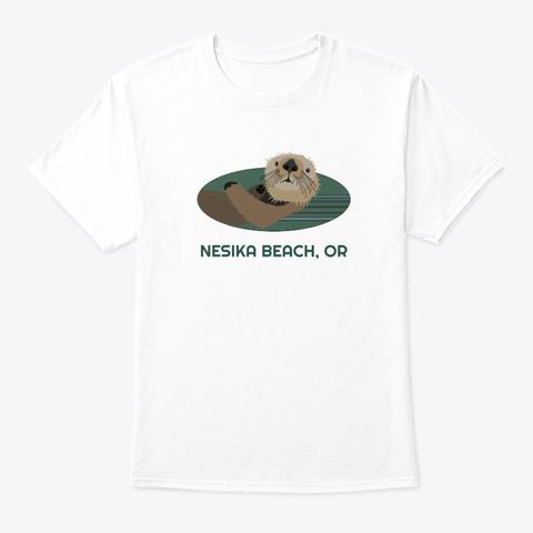 Nesika Beach Or Otter Pnw Tribal White T-Shirt Front