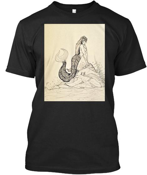 Mermaid Fantasy Tshirt Vintage Black T-Shirt Front