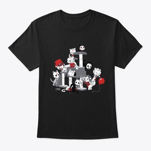 I Love Cats Horror Kitties Halloween Black T-Shirt Front