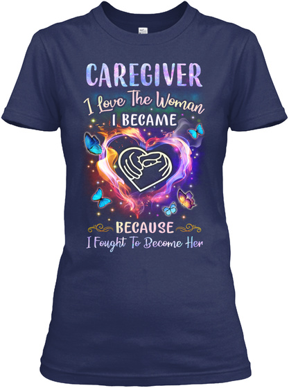 Awesome Caregiver Navy T-Shirt Front