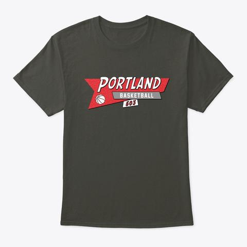Portland 90s Retro Basketball Smoke Gray T-Shirt Front