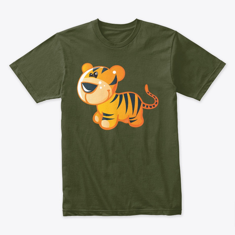 Cute Tiger Military Green T-Shirt Front