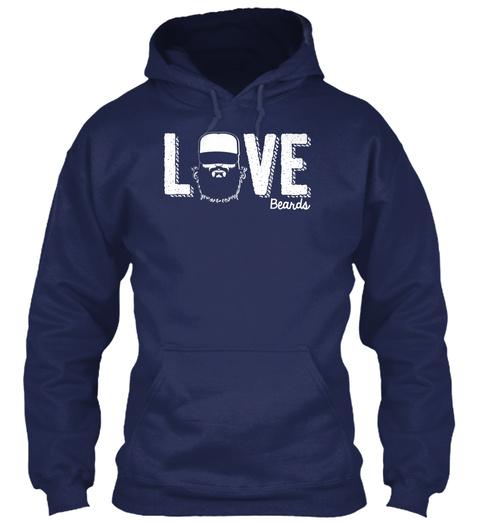 Love Beards  Navy T-Shirt Front