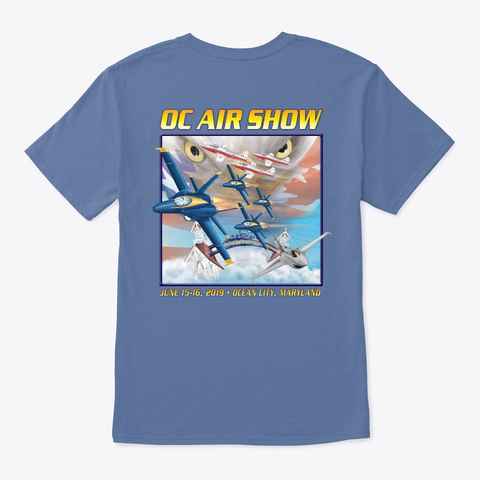 2019 Oc Air Show Official Merchandise Denim Blue T-Shirt Back