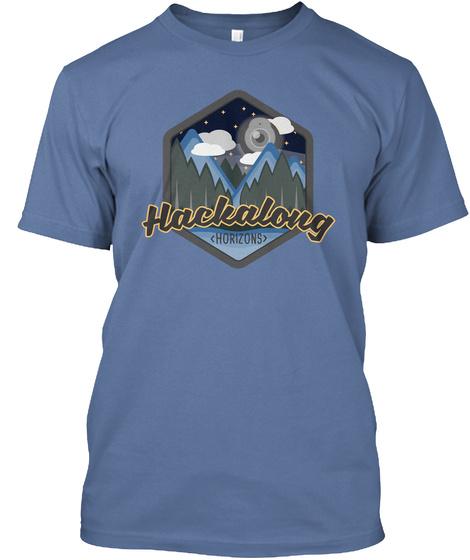 Hackalong Horizons Denim Blue T-Shirt Front