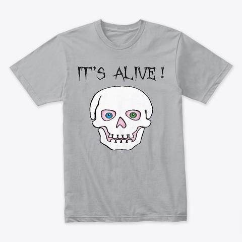 It's Alive Skull Heather Grey T-Shirt Front