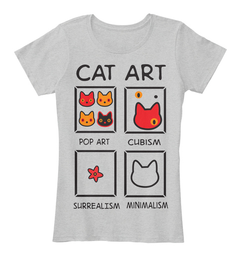 Cat Art Pop Art Cubism Surrealism Minimalism Light Heather Grey T-Shirt Front