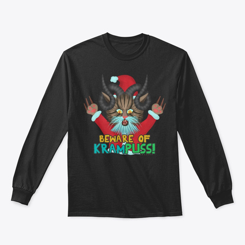 Funny Christmas Cat Krampuss Pun Holiday Black T-Shirt Front