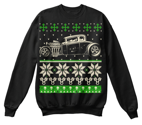Hot Rod Ugly Christmas Sweater Look Crew Black T-Shirt Front