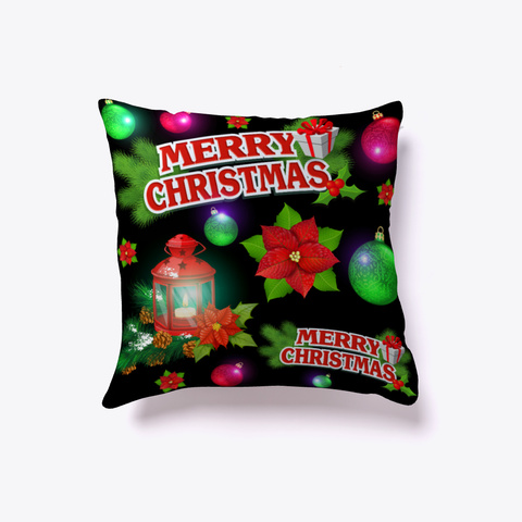 Merry Christmas Poinsettia Throw Pillow Black T-Shirt Front