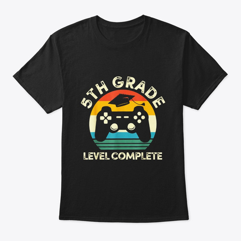 5th Grade Level Complete Video Game Black T-Shirt Front