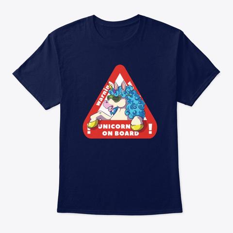 Unicorn On Board Navy T-Shirt Front