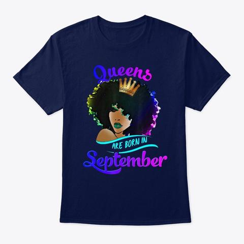 Queens Born September Shirt Black Girl V Navy T-Shirt Front