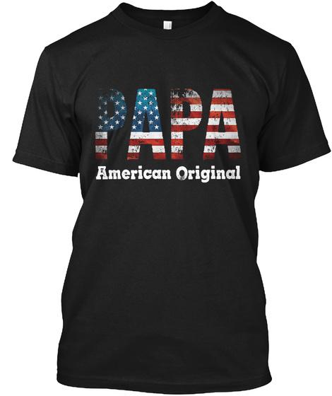 Papa American Original Black T-Shirt Front